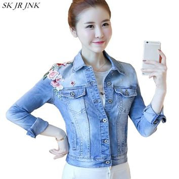 Trendy New Vintage Embroidery 100% Cotton Slim Short Denim Jacket Long Sleeve Women Spring Autumn Fashion Casual Jean Basic Coat WFY115 AT_94_13