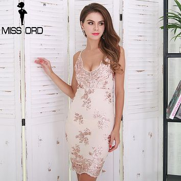 Missord 2018 Sexy V-neck Off Shoulder Harness Backless  Sequin Embroidery Dress  FT8523