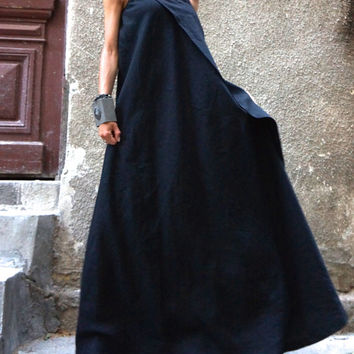 XXL,XXXL Maxi Dress / Black Kaftan Linen Dress / One Shoulder Dress / Extravagant Long  Dress / Party Dress / Daywear Dress A03144