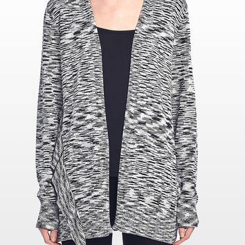 Long Sleeve Open Front Cardigan With Ruffle Trim