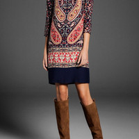 Totem Floral Pattern Sleeve Shift Dress