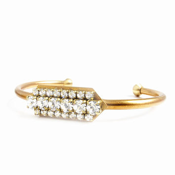 Vintage Multi-Crystal Cuff Bangle
