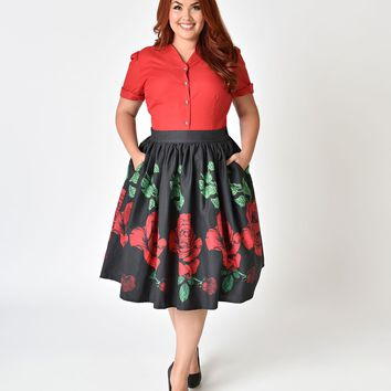 Unique Vintage Plus Size 1950s Style Black & Red Rose Print High Waist Cotton Swing Skirt