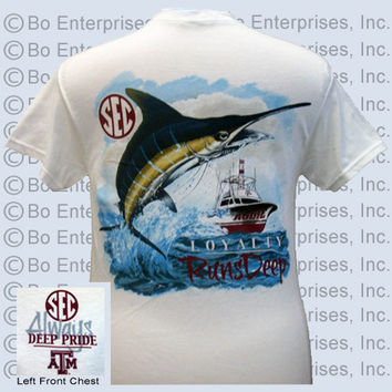 Texas A&M Aggies Deep Pride Loyalty Runs Deep Fish Unisex Bright T Shirt