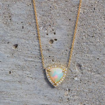 Logan Hollowell - Wilderness Trillion Rose Cut White Opal Necklace w/ Diamonds