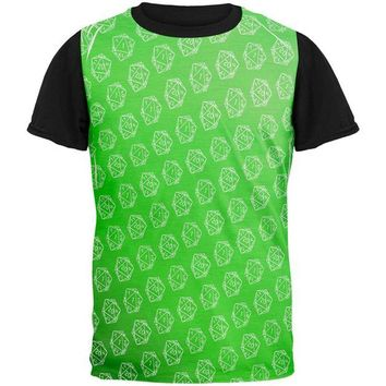 DCCKU3R D20 Gamer Critical Hit and Fumble Green Pattern All Over Mens Black Back T Shirt