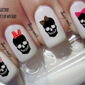 Skull Bows Various Designs Nail Art Transfer Decal