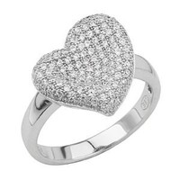 .925 Sterling Silver Rhodium Plated Micro Pave Floating Heart Design Fashion Ring