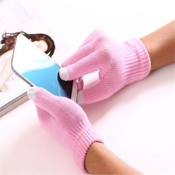 Unisex Men Women Winter Knit Glove Easy Touch Screen Gloves SmartPhone Pad = 1958160068