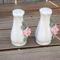 Salt and Pepper Shakers, Shaker, Set, Mid Century, Porcelain, Rose, Pink, White, Vintage