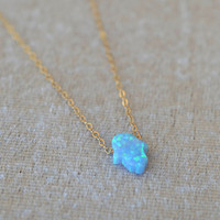 opal Layered Necklaces,hamsa hand 14k Gold Filled,valentines necklace,girlfriend necklace