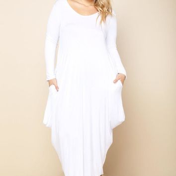 White Flowy Draped Long Sleeves Plus Size Midi Dress