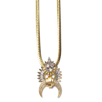 Divina Necklace, Golden Crystal