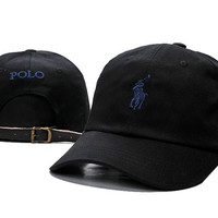 Unisex Sports Cool Black POLO Logo Embroidered Baseball Cap Hats