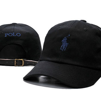 Sports Cool Black POLO Logo Embroidered Baseball Cap Hats