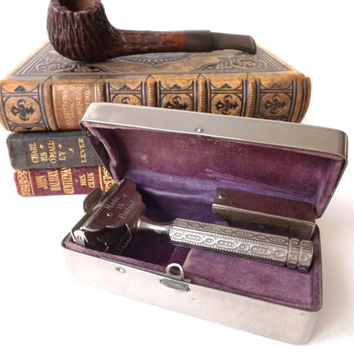 Vintage Ever Ready Single Edge Razor in Original Box, Mans Antique Vanity Gift, Vintage Shaving, Barber Shop Wet Shave