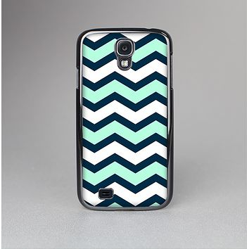 The Teal & Blue Wide Chevron Pattern Skin-Sert Case for the Samsung Galaxy S4