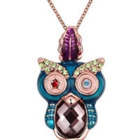 Rose gold necklace colorful owl necklace