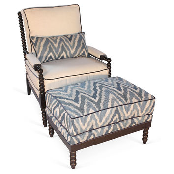 Taylor Burke Home, Gregg Chair & Ottoman, Aqua/Cream, Chairs with Ottomans/Footstools