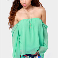 LULUS Exclusive Landslide Off-the-Shoulder Mint Green Top