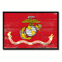 US Marine Corps Military Flag Vintage Canvas Print with Picture Frame Home Decor Man Cave Wall Art Collectible Decoration Artwork Gifts