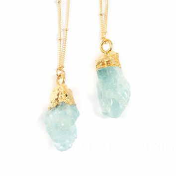 Aquamarine Necklace | Boho Necklace | Druzy Necklace | Bohemian Jewelry | Boho Jewelry | Minimalist Gemstone Necklace | Raw Aquamarine