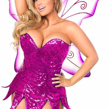 Daisy Corsets Female Pink Sequin Fairy Corset Dress Costume TD-938