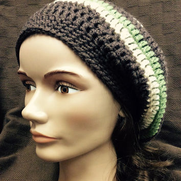 Slouchy hat, Rasta hat, hippie hat, winter hat dread tam, brown, green, tan, hand crochet, handmade, gift,
