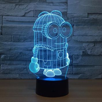 7 Colors Cartoon Cut 3D Minions Night Light LED Desk Table Lamp Touch Switch Colorful For Child Baby Birthday Xmas Gift