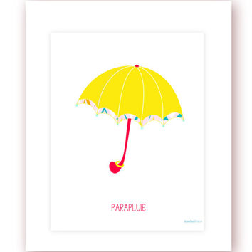 Printable Rain Umbrella Digital Print Girls Print Girls Wall Decor Girlie Printable Wall Art Office Wall Art Teens Room Decor Yellow Red