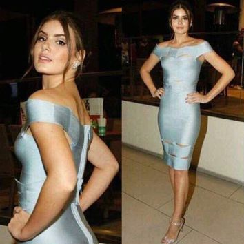 DCCKG2C 2018 Trending Herve Leger Sky blue a word on the shoulder jacquard dress with a wavy hollowed out
