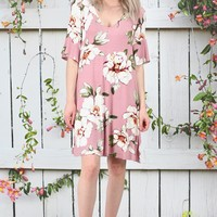 Magnolia Blossoms Tie Back Dress {Mauve}