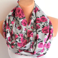 Infinity Scarf Green Loop Scarf Circle Scarf Cowl Scarf Soft and Lightweight Pink Roses on Grey