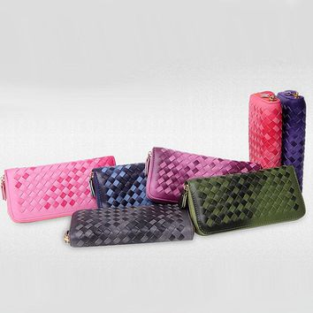 New Fashion 7 color gradient color woven PU Leather Long Wallets Women Wallets Portable Casual Lady Cash Purse Card Holder Gifts