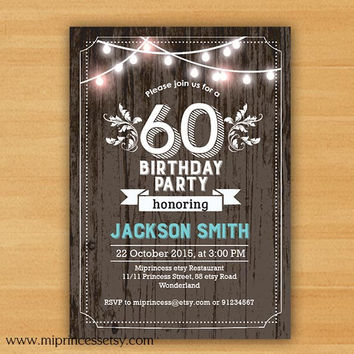 Birthday invitation chalkboard birthday party invite for any age 20th 30th 40th 50th 60th 70th 80th 90th wood rustic- card 642