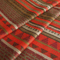 South American Fabric, Peruvian Fabric, Woven, Red Orange Geo Stripes, 1 Yard