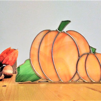 Pumpkin candle holder Halloween table or patio decoration All Hallows Eve harvest time party Holds 3 tea lights Handmade in stained glass