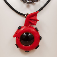 Red with Black Ouroboros Hand Sculpted Necklace/ Pendant Full Metal Alchemist Inspired Ouroboros Symbol, Dragon Eating Its Own Tail Necklace