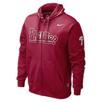 Philadelphia Phillies full zip hooded sweatshirt NWT Nike new Therma-Fit MLB Fightin Phils