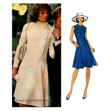 70s VOGUE DRESS Pattern Drop Waist Dress Shaped Hip Alberto Fabiani Vogue 1065 Couturier Design Bust 34 UNCuT Vintage Womens Sewing Patterns