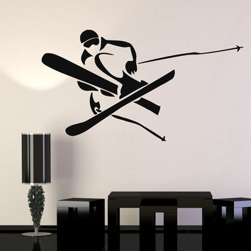 Vinyl Wall Decal Skiing Skier Extreme Mountain Winter Sports Decor Stickers Unique Gift (ig018)