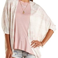 Ivory Combo Aztec Print Cocoon Cardigan by Charlotte Russe