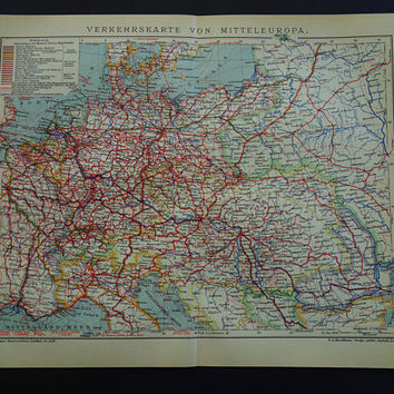 EUROPE vintage map of transport Original antique 1904 print/poster about railway shipping lines old maps Orient express railways memorabilia