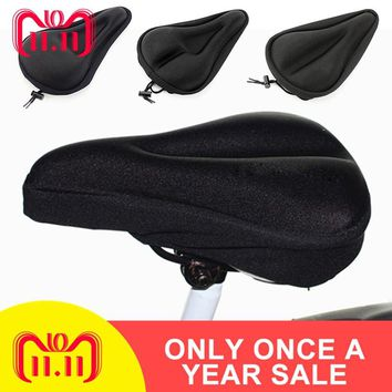 1pc Black High Quality Silica Gel Mountain Bike Seat Cover Comfort Cushion Absorbing Shock Bicycle Seat Cover Thickening Saddle