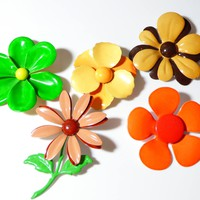 Retro Flower Power Enamel Flower Pins