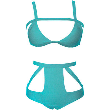 Trap Queen Blue Hollow Out Bikini