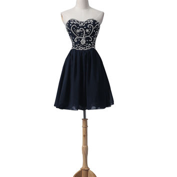 Navy Blue Chiffon Beaded Short Prom\Evening Dresses ED0666