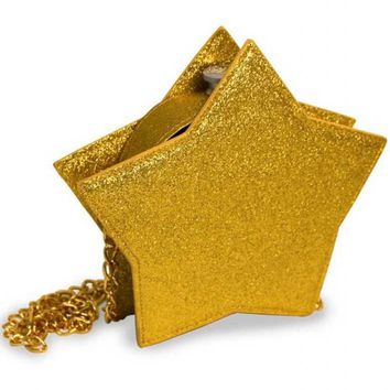 Gold Glitter Star Round Flask Purse