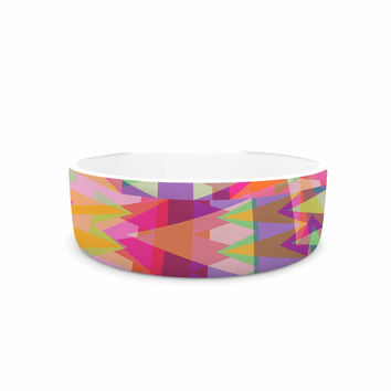 "Miranda Mol ""Triangle Fun"" Pink Multicolor Pet Bowl"