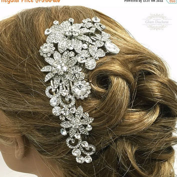Bridal headpiece, bridal comb, crystal comb, Crystal Art Deco hair jewelry, Bridal Rhinestone Hair comb,  Wedding hair accessory